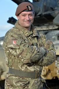 Major Justin Crump at a live firing exercise.